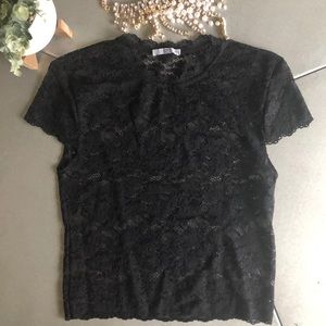 🌟Black lace short sleeve ZARA top-sexy -small